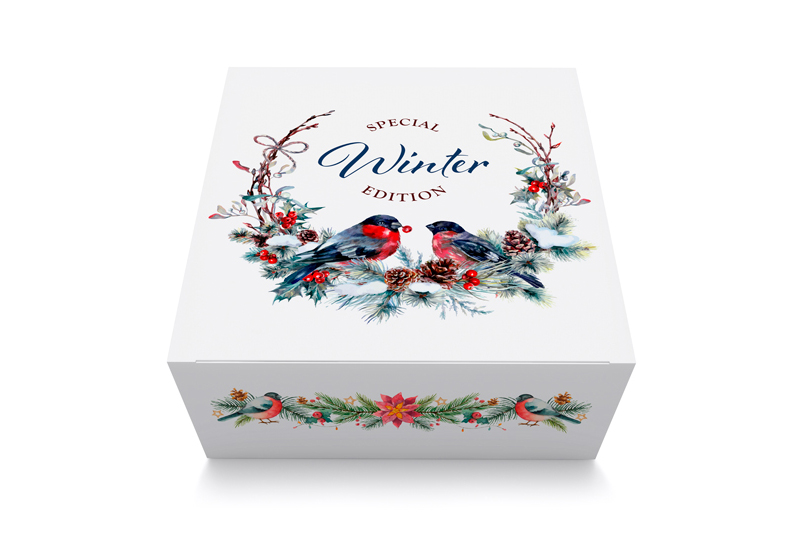 Seasonal folding carton with fine details and bright colours
